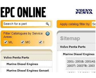 Volvo Penta Electronic Parts Catalog with exploded schematic views